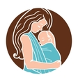 Babywearing Round Logo With Mother Hugging vector image