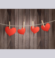 Background with red hearts on wooden texture vector image vector image