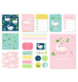 beautiful swans baby shower scrapbook set vector image vector image