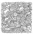cartoon doodles coffee house vector image vector image