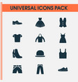 clothes icons set collection of dress female vector image vector image