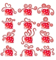 Collection of red gift boxes on a white background vector image vector image