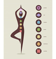 Color chakra icons with silhouette doing yoga vector image vector image