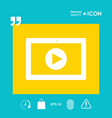 computer tablet with play button icon vector image vector image