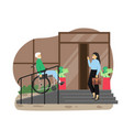 disabled senior man in wheelchair using staircase vector image