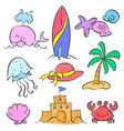 element summer set style doodles vector image vector image
