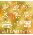 Fast food labels template in brush drawing style vector image vector image