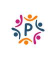 friendship teamwork parenting letter p vector image vector image