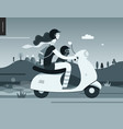 girl on a scooter vector image vector image