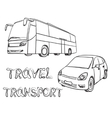 Hand drawn transport set Bus and car