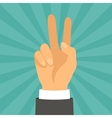Hand shows victory sign in flat design style vector image