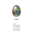 happy easter card egg with color pattern vector image vector image
