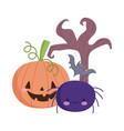 happy halloween funny pumpkin spider bat and dry vector image vector image