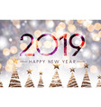 happy new year 2019 card with golden christmas vector image vector image