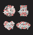 hello spring lettering with flowers elements set vector image