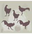 Hen and Rooster silhouette on grunge background vector image vector image