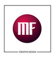 initial letter mf logo template design vector image