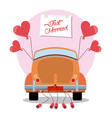 just married vintage car decoration vector image vector image