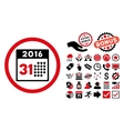 Last 2016 Month Day Flat Icon with Bonus vector image vector image