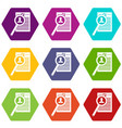 magnifying glass over curriculum vita icon set vector image vector image