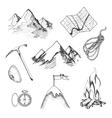 mountain climbing camping icons vector image vector image