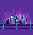 neon city fireworks vector image vector image