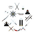 ninja flat icons set vector image
