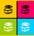 open mouth woman lips tongue pop art style vector image vector image