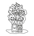 outline adorable bear family animals and tree