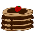 pancake with strawberry on white background vector image vector image