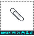 paper clip icon flat vector image vector image