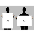 people holding blank posters set vector image vector image