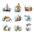 pirate people with treasures and flag isolated set vector image