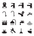 plumbing tools icons set vector image