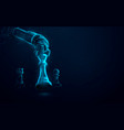 robot arm playing chess artificial intelligence vector image vector image