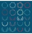 Romantic hand drawn collection of laurels wreaths