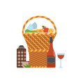 romantic picnic basket with wine and food vector image vector image