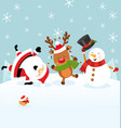 santa reindeer snowman celebrating christmas vector image