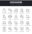 set line icons carsharing vector image vector image
