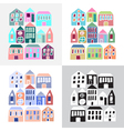 Set of cartoon colorful houses vector image