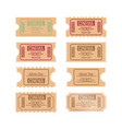 set of different retro movie ticket vector image vector image