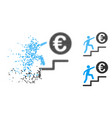 shredded dotted halftone euro business steps icon vector image vector image