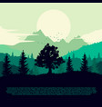 silhouette forest mountains and clouds vector image vector image