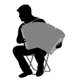 Silhouette musician accordion player on white vector image vector image