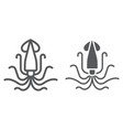 squid line and glyph icon animal vector image vector image