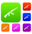 submachine gun set collection vector image vector image