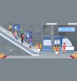subway underground station escalator flat vector image