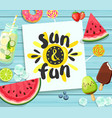 sun and fun card on blue wooden background vector image vector image