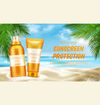 sunscreen protection cosmetic mock up banner vector image vector image