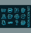 traffic set icons blue glowing neon style vector image